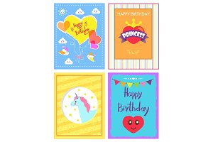 Happy Birthday Princess Card Vector Illustration