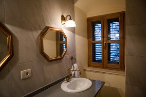 small bathroom with mirror