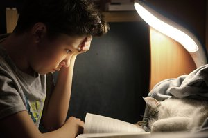 teenager boy make homework at desk with lamp book