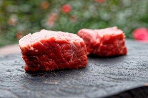 Two pieces of tenderloin beef