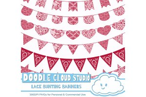 Carmine Red Lace Bunting Banners