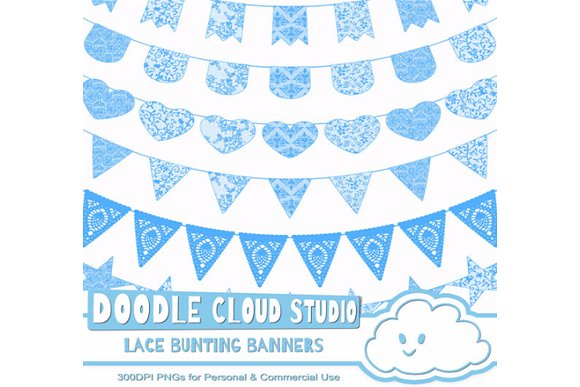 Blue Lace Burlap Bunting Banners