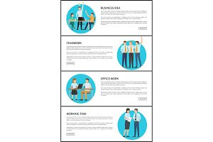 Business Idea Office Teamwork Vector Illustration