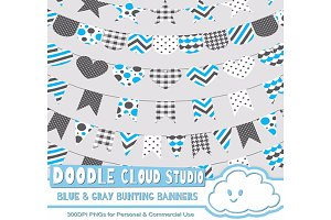 Blue & Gray Patterns Bunting Banners