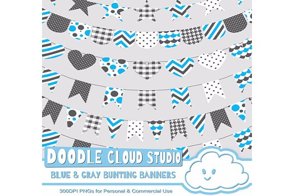 Blue Gray Patterns Bunting Banners