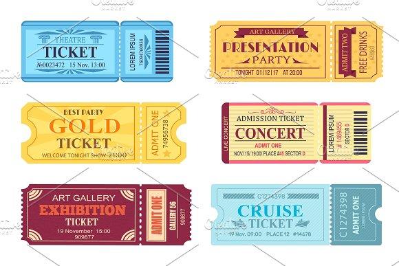Best Party Gold Ticket Set Vector Illustration