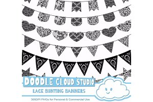 Black Lace Burlap Bunting Banners