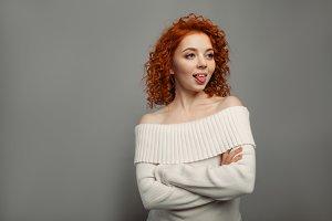 Redhead curly girl