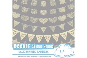 Beige Lace Burlap Bunting Banners