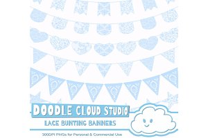 Azure Lace Burlap Bunting Banners