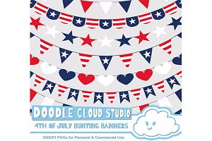4th of July bunting banners clipart