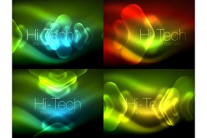 Set of abstract backgrounds  Blurred arrows in dark space  Neon pointers,  glass glossy design, abstract techno background, web banner