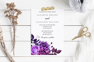 purple wedding invitation template invitation templates creative