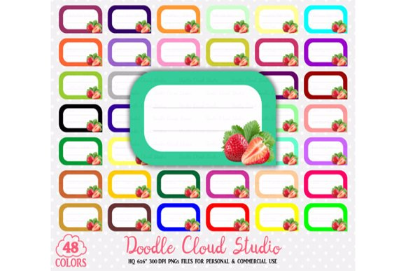 48 Colorful Straberry Labels Clipart
