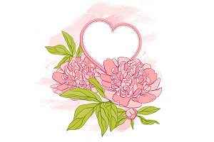 Card with peony on grunge background.