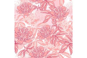 Vector pattern with peony and foliage.