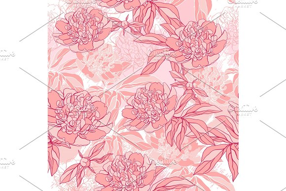Vector Pattern With Peony And Foliage