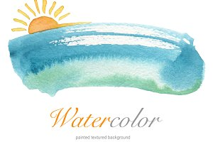 Summer watercolor hand paint