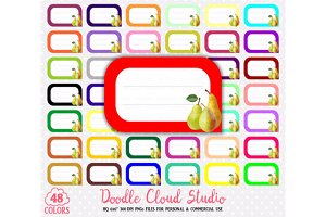 48 Colorful Pear Labels Clipart