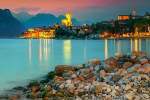 Malcesine resort at sunset