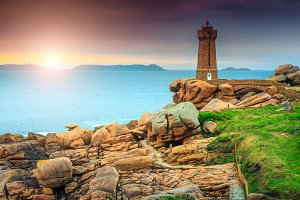 Lighthouse at sunset in France