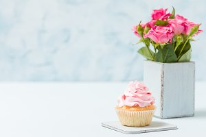 Cupcake with pink decoration