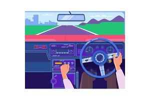 Driving a car on the highway. Car on the road, a view from salon. Transportation and vehicle concept