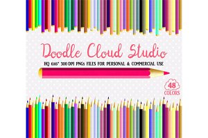 48 Colorful Pastel Pencils Clipart