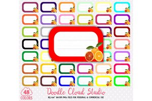 48 Colorful Orange Labels Clipart