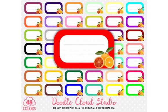 48 Colorful Orange Labels Clipart in Illustrations