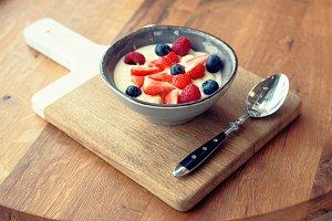 Cream and berries dessert