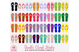 48 Colorful Flip Flop Clipart