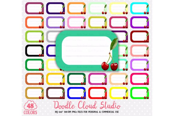 48 Colorful Cherry Labels Clipart