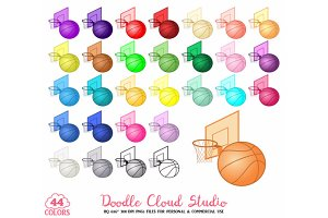 44 Colorful Basketball Clipart