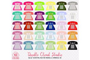 42 Colorful Telephone Clipart Retro