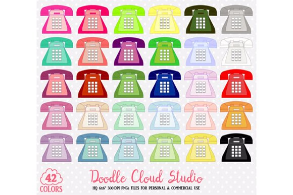 42 Colorful Telephone Clipart Retro