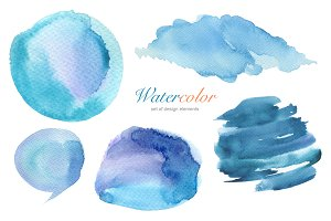 Collection of watercolor hand paint.