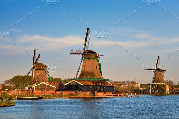 Windmills At Zaanse Schans In Holland In Twilight On Sunset Zaa