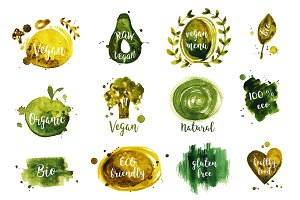 Watercolor vegan badges and logos