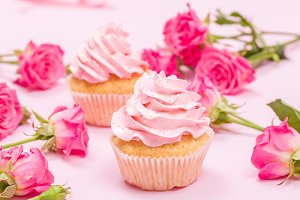 Cupcake with pink cream decoration