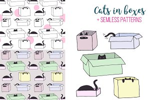 Cute cats in boxes - vector patterns