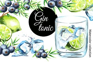 Gin Tonic. Watercolor collection