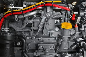 Detail photo of car engine under the hood