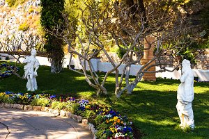 Antique figures in the public garden. Giardini Capri, Italy