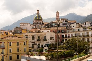 Panoramic view of the city of Vietri and the church, Italy, the Amalfi Coast