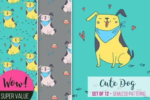 Vector cute dog set of 12