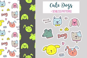 Dogs stickers set + patterns