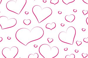 Seamless pattern from pink hearts