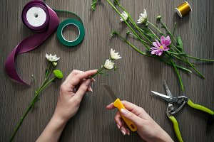 Creative florist hands