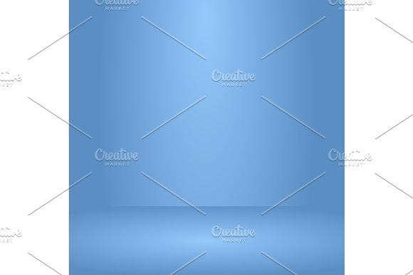 Empty Blue Studio Room Used As Background For Display Your Products Vector